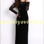 Uzun kollu tozlu abiye elbise
