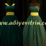 yeşil sarı prenses abiye modelleri
