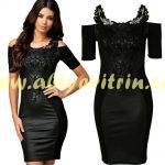 dantel detaylı siyah söz elbisesi modeleri