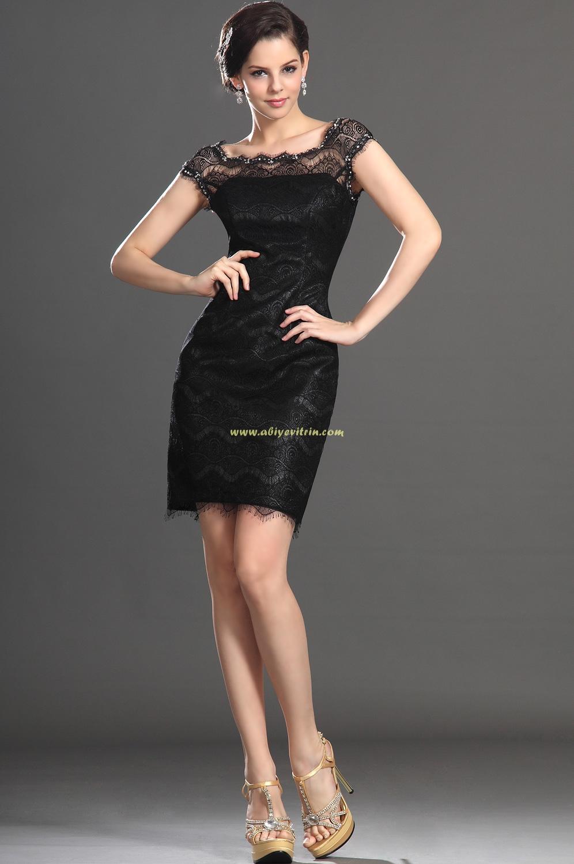 siyah mini abiye modelleri