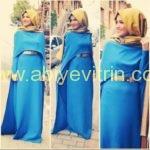 mavi-tesettur-abiye-elbise
